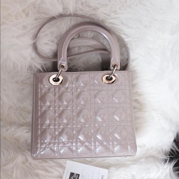 64bdd3f7dcf Dior Bags | Lady Medium Patent Leather Grey | Poshmark